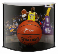 LeBron James Signed Los Angeles Lakers Custom Engraved Spalding Basketball with Curve Display Case (UDA COA)