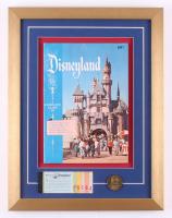 Disneyland 15x19.5 Custom Framed 1957 Vintage Guide Display with Vintage Ticket Booklet & Coin