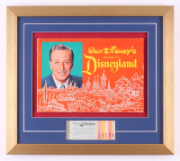 Disneyland 16x18 Custom Framed Vintage 1961 Guide Display with Vintage Ticket Booklet
