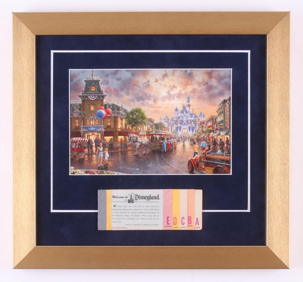 Disneyland 13x14 Custom Framed Thomas Kinkade Print Display with Vintage Ticket at PristineAuction.com
