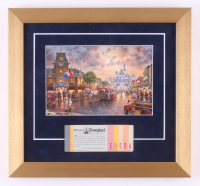 Disneyland 13x14 Custom Framed Thomas Kinkade Print Display with Vintage Ticket