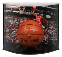 Michael Jordan Signed Spalding Basketball with Curve Display Case (UDA COA)