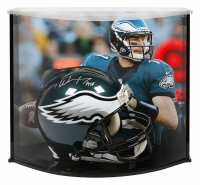 "Carson Wentz Signed Philadelphia Eagles Full-Size Authentic On-Field Helmet Inscribed ""AO1"" with Curve Display Case (Fanatics Hologram)"