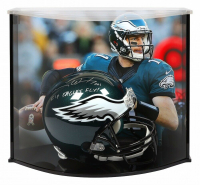 "Carson Wentz Signed Philadelphia Eagles Full-Size Authentic On-Field Helmet Inscribed ""AO1"" & ""Fly Eagles Fly!"" with Curve Display Case (Fanatics Hologram)"