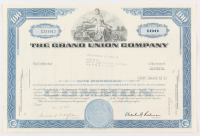 "Vintage 1973 ""The Grand Union Company"" (100) Shares Stock Certificate"