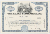 """Vintage 1965 """"The Grand Union Company"""" (100) Shares Stock Certificate"""