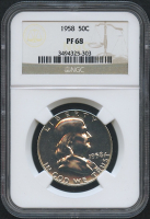 1958 50¢ Franklin Silver Half Dollar - Proof (NGC PF 68)