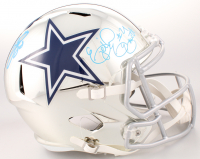 Emmitt Smith & Ezekiel Elliott Signed Dallas Cowboys Full-Size Chrome Speed Helmet (Beckett COA & Prova Hologram) at PristineAuction.com