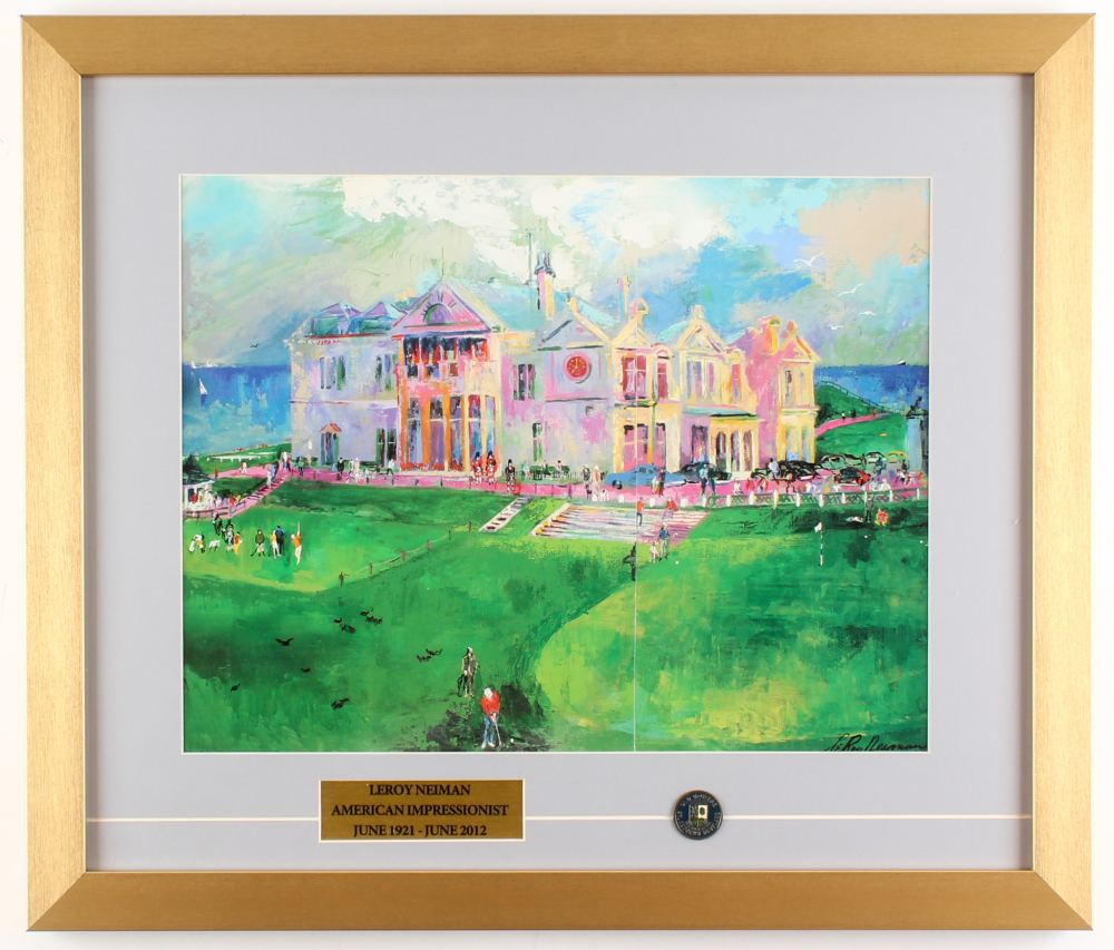 """LeRoy Neiman """"The Old Course at St. Andrews"""" 18x21 Custom Framed Print Display at PristineAuction.com"""