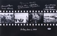 D-Day 12x18 Photo Signed by (10) with Bernard Nolan, Martin Fleisher, Don Jakeway, George Klein, Bob Bearden (PSA LOA)