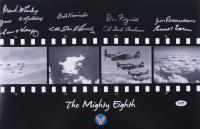 The Mighty Eighth 12x18 Photo Signed by (9) with Frank McCauley, James Mullinaz, Simon Velasquez, Dick Kamanski, Steve Pisanos (PSA LOA)