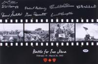 Battle for Iwo Jima 12x18 Photo Signed by (8) with Leo Ehli, James Scotella, Robert Falloway, Gene Ianconetti, Hershel Williams, Everett Hampton (PSA LOA)