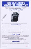 Rob O'Neill Signed 12x18 Usama Bin Laden Wanted Poster (PSA LOA)
