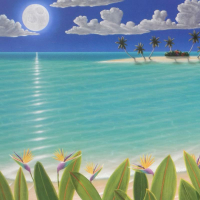 """Dan Mackin Signed """"Birds In The Moonlight"""" Limited Edition 13x39 Lithograph (PA LOA) at PristineAuction.com"""