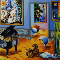 """Alexander Astahov Signed """"BLACK PIANO"""" Limited Edition 17x36 Serigraph at PristineAuction.com"""
