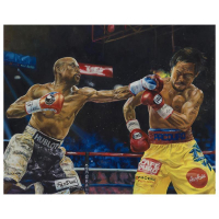 "Turchinsky Dimitry Signed ""Mayweather Vs Pacquiao"" Limited Edition 24x30 Mixed Media on Canvas"