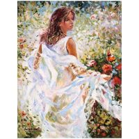 """Igor Semeko Signed """"Lady in White Dress"""" Limited Edition 30x24 Giclee on Canvas at PristineAuction.com"""