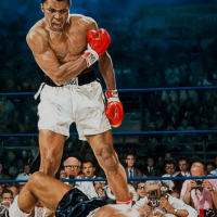 """Yevgeniy Korol Signed """"Ali Vs. Liston"""" Limited Edition 24x30 Mixed Media on Canvas at PristineAuction.com"""