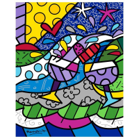 """Romero Britto Signed """"Wine Country Purple"""" Limited Edition 30z24 Giclee on Canvas at PristineAuction.com"""