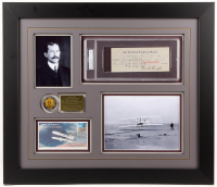 Orville Wright Signed 23.5x27.5 Custom Framed Check Display (PSA Encapsulated - Autograph Grade 9)