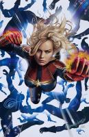 """Greg Horn Signed Marvel """"Captain Marvel"""" 11x17 Lithograph (JSA COA)"""