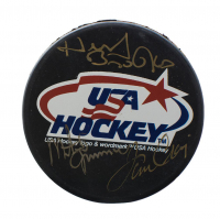 Herb Brooks, Mike Eruzione & Jim Craig Signed USA Hockey Logo Hockey Puck with Display Case (JSA ALOA)