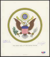 """Jimmy Doolittle & Richard E. Cole Signed """"The Great Seal of the United States"""" 7.5x8.5 Print (PSA LOA)"""