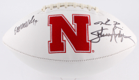 Mike Rozier, Johnny Rodgers, & Eric Crouch Signed Nebraska Cornhuskers Logo Football (JSA COA)