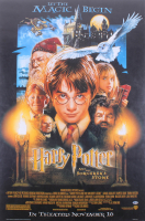 """Daniel Radcliffe Signed 27x40 """"Harry Potter and the Sorcerer's Stone"""" Movie Poster (Beckett Hologram)"""