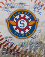 1969 Inaugural Seattle Pilots 16x20 Photo Team-Signed by (18) with Jack Aker, Gary Bell, Wayne Comer, Jim Bouton, Rich Rollins (Beckett LOA)