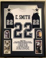 Emmitt Smith Signed Dallas Cowboys 34x42 Custom Framed Career Highligh Stat Jersey (Beckett COA & Prova Hologram)