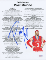 "Post Malone Signed ""White Iverson"" 8.5x11 Lyric Sheet (PSA Hologram)"