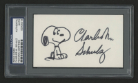 Charles M. Schulz Signed 3x5 Index Card (PSA Encapsulated) at PristineAuction.com