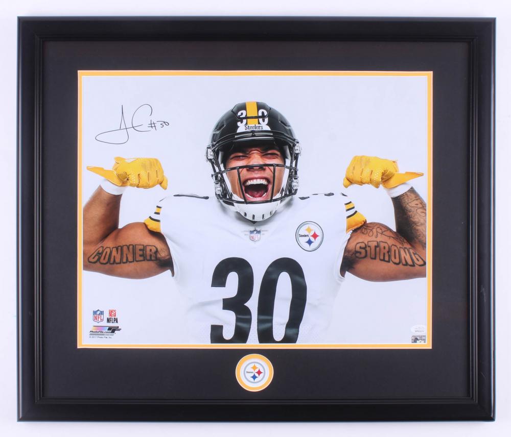 5e3b5199bef James Conner Signed Pittsburgh Steelers 22.5x26.5 Custom Framed Photo  Display (JSA Hologram)