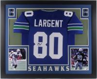 Steve Largent Signed Seattle Seahawks 35x43 Custom Framed Jersey (Beckett COA) at PristineAuction.com