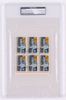 "Neil Armstrong Signed Page of (6) Uncut Stamps Inscribed ""Apollo 11"" (PSA Encapsulated)"