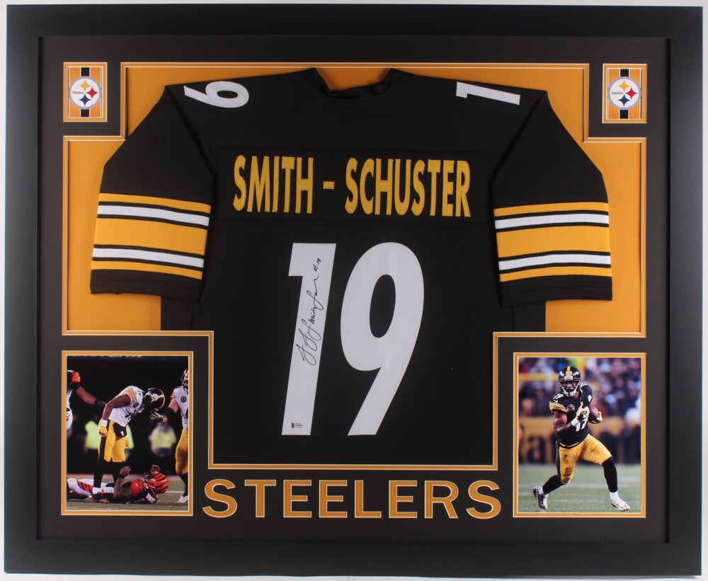 76c630d6a09 JuJu Smith-Schuster Signed Pittsburgh Steelers 35x43 Custom Framed Jersey ( Beckett COA) at