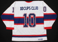 "Henri Richard, Jean Beliveau, & Yvan Cournoyer Signed Montreal Canadiens Cup Winners Jersey Inscribed ""11 Cups"" & ""10 Cups"" (Beckett LOA)"