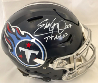 "Eddie George Signed Tennessee Titans Full-Size Authentic On-Field Speedflex Helmet Inscribed ""Titan Up"" (Beckett COA)"