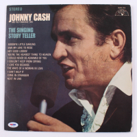 "Johnny Cash Signed ""The Singing Story Teller"" Vinyl Record Album Cover (PSA COA)"