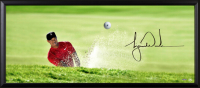 "Tiger Woods Signed Breaking Through ""Precision"" 18x44 Custom Framed Photo with Bridgestone Golf Ball (UDA COA) at PristineAuction.com"