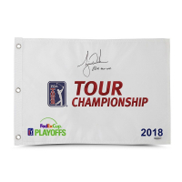 "Tiger Woods Signed Limited Edition 2018 Tour Championship Pin Flag Inscribed ""80th Tour Win"" (UDA COA)"