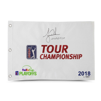 "Tiger Woods Signed Limited Edition 2018 Tour Championship Pin Flag Inscribed  ""65-68-65-71-269"" (UDA COA) at PristineAuction.com"