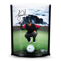"Tiger Woods Signed ""Pebble Beach Hole No. 7"" 8.5x11x3.5 Curve Display with Range Driven Ball (UDA COA) at PristineAuction.com"
