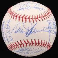 "1986 New York Mets OML Baseball Team-Signed by (28) with Darryl Strawberry, Dwight ""Doc"" Gooden, Keith Hernandez, Ron Darling, Howard Johnson, Davey Johnson (JSA LOA)"