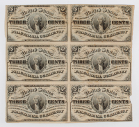 Uncut Sheet of (6) 1863 United States 3¢ Three Cent Fractional Bank Note Bills (Third Issue)
