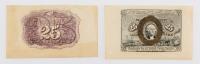 1863 (Front & Back) Specimen Wide Margin United States 25¢ Twenty Five Cents Fractional Bank Note Bills at PristineAuction.com