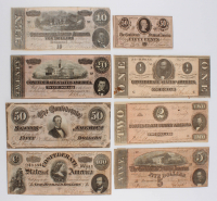 1864 Confederate Bank Note Set of (8) with $100, $50, $20, $10, $5, $2, $1 & $.50