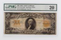 1922 $20 Twenty Dollars U.S. Gold Certificate Large Size Bank Note (PMG 20)