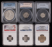 Lot of (6) Graded Coins with 1959 10¢ (PCGS MS65), 2012-S Clad 10¢ Early Release (NGC PF 69 Ultra Cameo), 2003-S 5¢ (PCGS PR69), 2012-S 5¢ Early Release (NGC PF 69 Ultra Cameo), 1921 $1 Morgan (PCGS MS61) & 2007-D $1 (Brilliant Uncirculated)